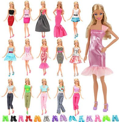 Barwa Lot 15 Items 5 Sets Fashion Wear Clothes With 10 Pair Shoe For Barbie Doll