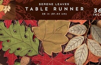 Autumn Scattered Leaves Thanksgiving /& Fall Table Runner Embroider Design 69x13
