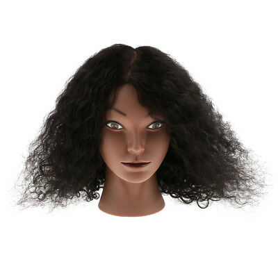 Salon Hairdressing Practice Training Mannequin Head with Afro Human Hair