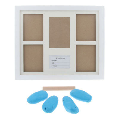 Baby Handprint Footprint Photo Frame Kit + Clean Touch Ink Pad Blue