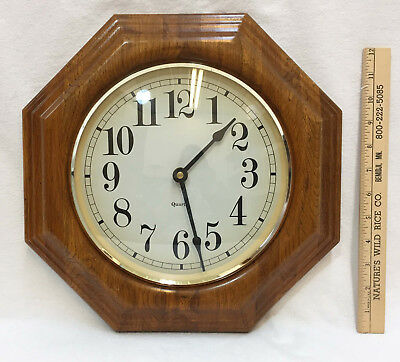 Wall Clock Octagon Solid Wooden Frame Gold Tone Trim Quartz Battery Operated AA