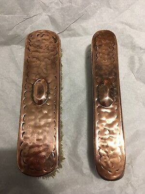 Antique Arts And Crafts Hammered Copper Clothes Or Shoe Polishing Brushes Newlyn