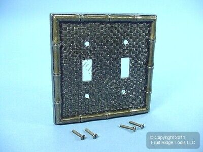 Leviton Antique Brass Finish Tiki Bamboo 2-Gang Switch Cover Plate Switchplate