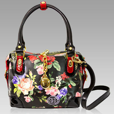 1725c9578e Marino Orlandi Designer Roses Floral Printed Black Leather Boxy Crossbody  Bag