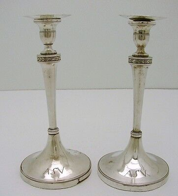 Set of 2  European Sterling Silver Hallmarked Tapered Candle Stick c1790
