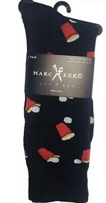 NEW MARC ECKO Mens Pair Of Novelty Crew Socks Navy Blue WITH