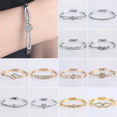 New Fashion Silver Plated Crystal Chain Bracelet Women Charm Cuff Bangle Jewelry