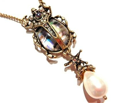 ABALONE SHELL SCARAB BEETLE NECKLACE Egyptian insect gold crystal faux pearl W3