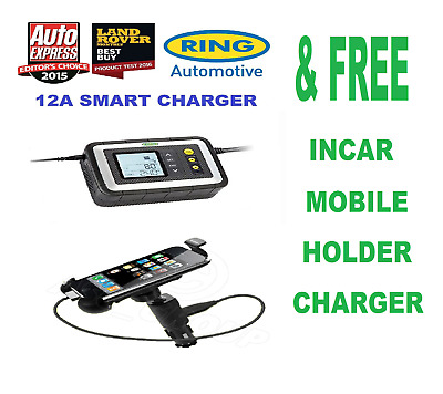 Ring RSC612 12 Amp Smart Car Battery Charger + FREE Mobile Holder / Charger