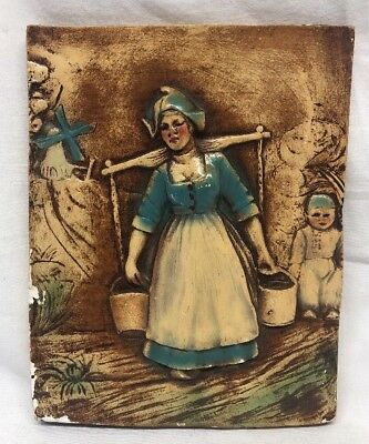 "Antique 9"" x 7"" Hand Carved Painted Ceramic Swiss Girl Tile"