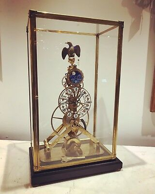 Skeleton Clock. Moon phase, Perpetual Calendar, Chain Fusee, Under Glass Case.