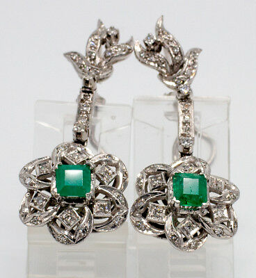 50's Vintage 1.00 CT. Colombian Emerald & 0.40 CT. TWDiamond Palladium Earrings