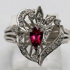 From 50's Deco Vintage Palladium  Deep Red Ruby Diamond Cocktail Ring size 6.5