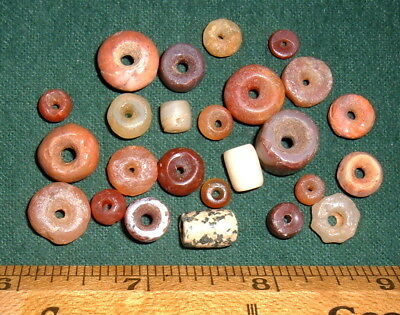 (25) Select Colorful Sahara Neolithic Stone Beads, Prehistoric African Artifacts