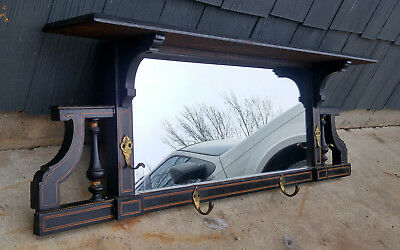 Antique 19th c Victorian Black & Gold Hall Wall Hat Rack Mirror Shelf w/ 4 Hooks