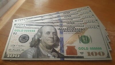 Lot of (5) Beautiful Silver Foil $100 Bill, No Cash Value. For Collectors Only!