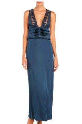 08eb95a439 La Perla Silk Pintuck Nightgown S Negligee Midnight Blue Navy Long New.