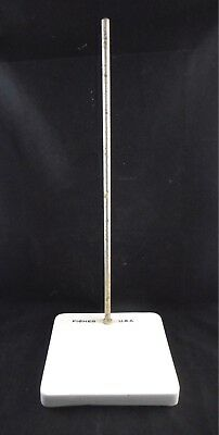 "FISHER Porcelain Ceramic Ring Support Lab Stand 9.5 x 9 x 1"" Base 24"" Rod 1/2"""