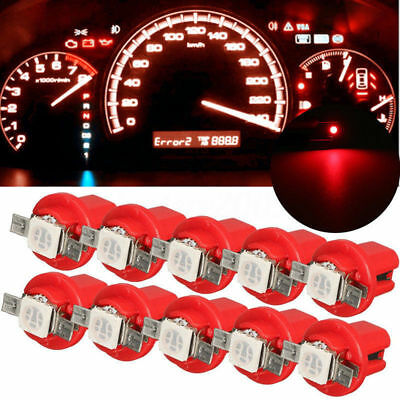 10x T5 Car Gauge 5050 1SMD 12V LED Speedo Dashboard Dash Side Light Bulb Red