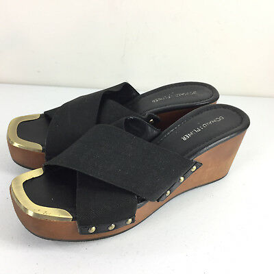 ae03c55fc5b Donald J Pliner 8 M Black Wedge Platform Slides Sandals Studded EUC Carra