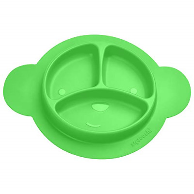 Squooshi Silicone Divided Toddler Plates - Easy to Clean - Dishwasher and Safe -