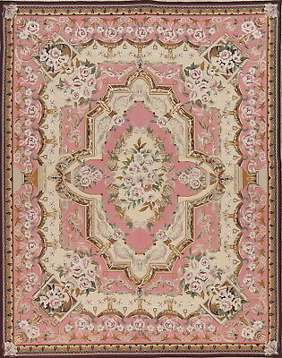 Pink Aubusson Savonnerie Needle-Point Chinese Hand-Woven Area Rug Wool 8'x10'