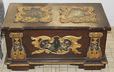 ANTIQUE 18th Ce. Folk SWEDISH WEDDING CHEST - Hand Painted Embossing & Dovetails