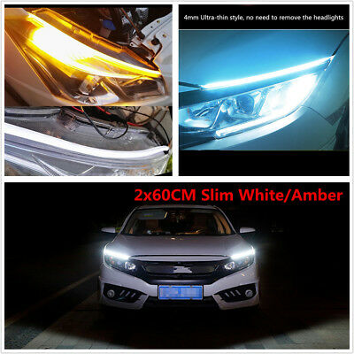 2x60CM Slim White/Amber Flexible LED DRL Turn Signal Strip Flowing for Headlight