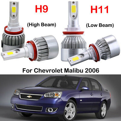 Front H9 H11 Cree Led Headlight Kits Replace Bulbs Fit 2006 Chevrolet Malibu