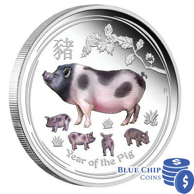 2019 $1 Year of the Pig 1oz Silver Proof Coloured Coin