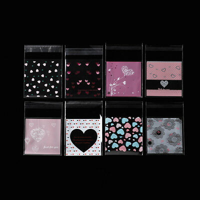 100Pcs Love Heart Self Adhesive Plastic Cookie Candy Package Gift Bags