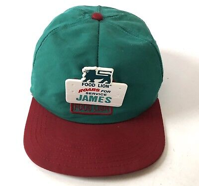 Food Lion Grocery Store Hat Cap Staff Employee Name Tag Teal Green Red