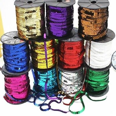 DIY 10YD 6mm Faceted Loose Sequins Paillettes Sewing Wedding Craft