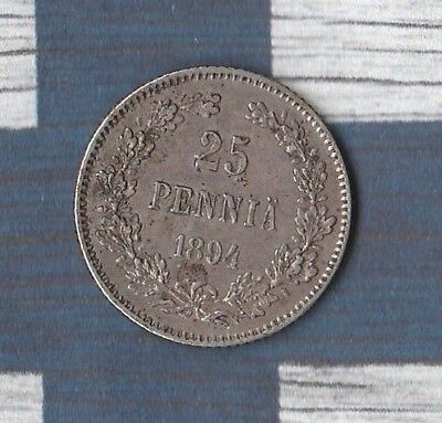 1894 Finland (Russian Occupied) 25 Pennia-~~ 75% silver~~Only 820,000 MINTED