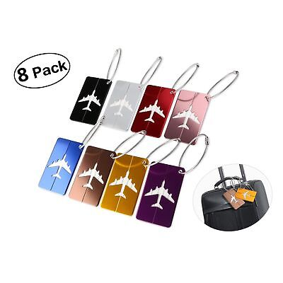8 Pack Aluminium Travel Luggage Tags Labels Suitcase Tags with Strings Metal New