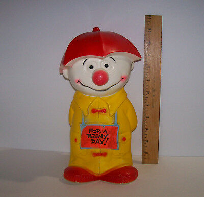Vintage 1971 Happy Clown SAVE FOR A RAINY DAY Bank