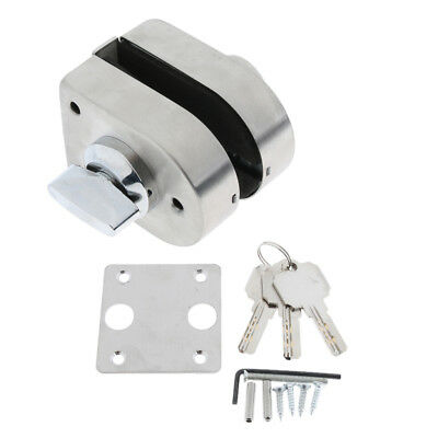 Stainless Steel 10-12mm Glass Swing Push Door Lock with Key Thumb Turning
