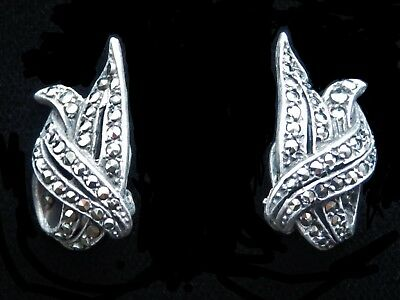Antique Vintage Art Deco Sterling Silver & Marcasite Clip On Earrings