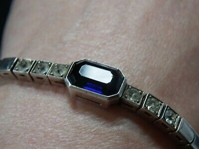 Art Deco Sterling Silver Bracelet With Central Sapphire Colour Stone & Old Paste