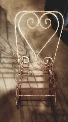 Vintage Wrought Iron Rustic Scrolled Child Rocking Chair