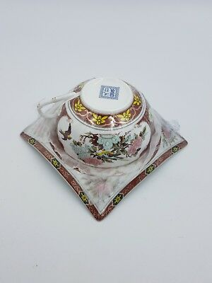 Chinese Tea Cup & Square Shaped Arched Saucer Duo Peony Flowers Birds New In Box