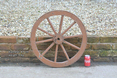 Vintage old wooden cart wagon wheel  / 61 cm / 9 kilo FREE DELIVERY