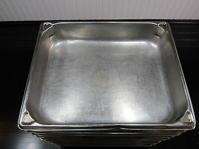 """1 Used Vollrath Super Pan Ii  Stainless Steel Steam Table Pan 1/2 Size 2 1/2"""" D"""