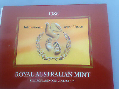 1986 ROYAL AUSTRALIAN MINT 6 Coin Uncirculated Set Year of Peace