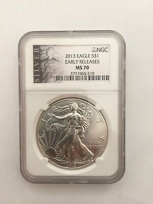 2013 Silver American Eagle Dollar Early Releases Ngc Ms 70 #m49