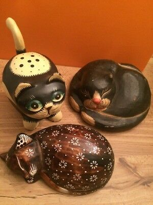 Lot Of 3 Wood Decorative Cats Kittens Sculptures Figures