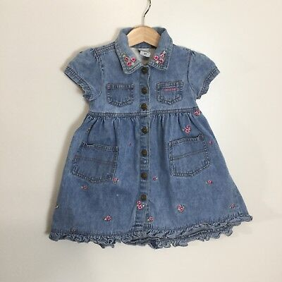 Vintage Oshkosh Girls Dress Denim Jean Floral Country Ruffle Buttons Size 2T