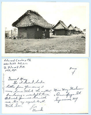 Hut Interior Panama Real Photo Card RPPC Soldier Mail USS Jobb Ship Architecture
