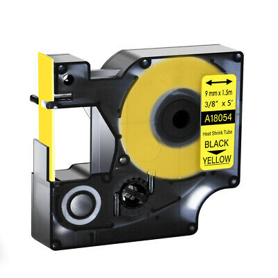 """1 Heat Shrink Tube Label IND Tape Black on Yellow 18054 For Dymo Rhino 1000 3/8"""""""