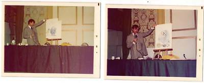 LOT 2 Vintage 3 1/2 x 4 1/2 photos of artist RUSSELL MYERS at 1973 New York con